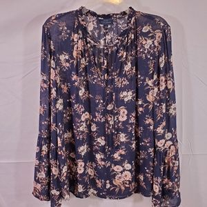 Lucky Brand Peasant Boho Sheer Floral Print Top